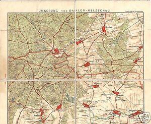 Wanderkarte-Umgebung-von-Dahlen-Oelzschau-farbig-auf-Leinen-um-1920