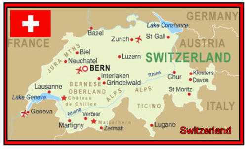 SWITZERLAND MAP - SOUVENIR NOVELTY FRIDGE MAGNET - SIGHTS / FLAG / NEW / GIFTS