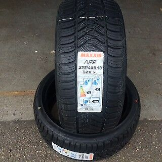 2x 225 40 18 92V Maxxis AP2 All Season Weather New tyres M+S Winter Markings x2