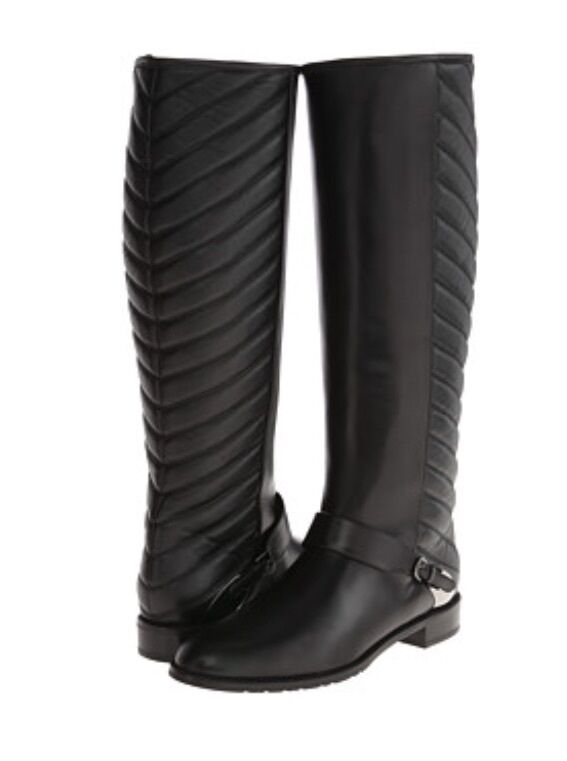 Stuart Weitzman RACEWAY Quilted Shaft  Black Calf Riding Leather Boot Size 6