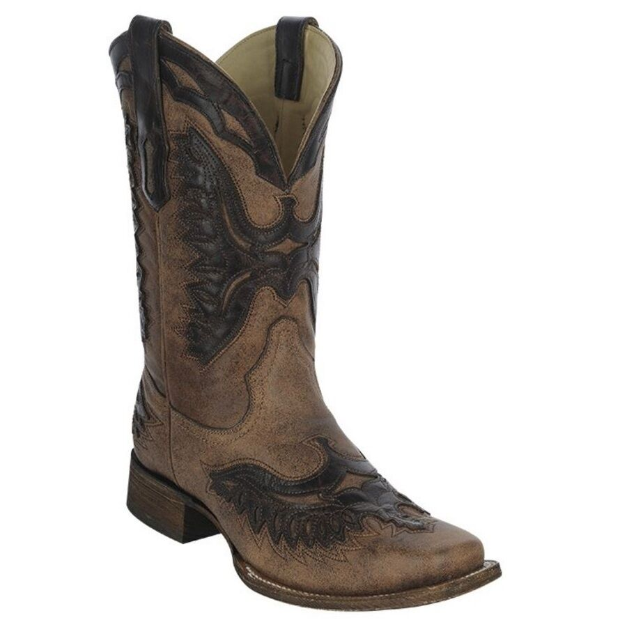 Corral Men's Chocolate Eagle Overlay Boot A3071