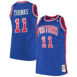 Men-039-s-Detroit-Pistons-Isiah-Thomas-Mitchell-amp-Ness-Blue-1988-89-HWC-NBA-Jersey