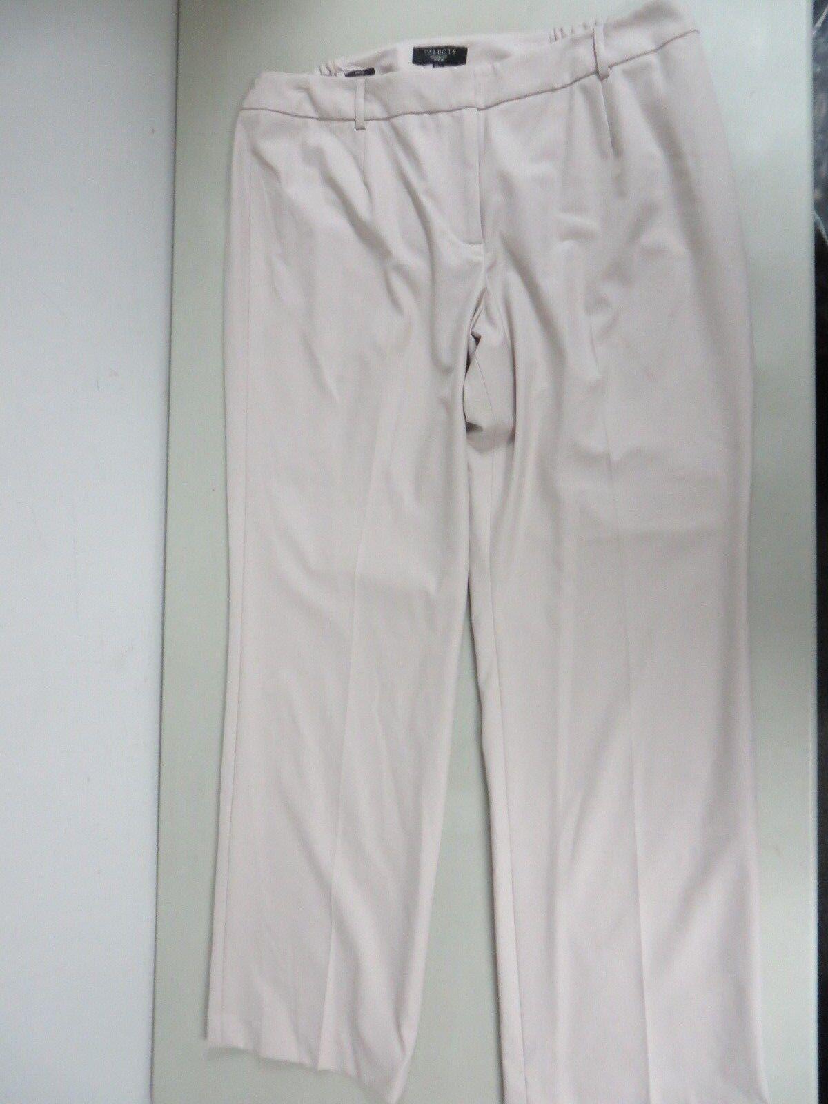 NWT  99  Talbots Heritage Woman Poly blend Straight leg Flat front Pants Tan 18W