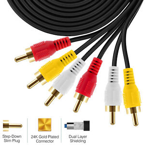 6FT-12FT-25FT-50FT-3RCA-Male-to-3RCA-Male-Composite-Cable-Hi-Fi-Stereo-Audio