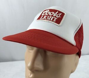 67590a5c Vtg Coors Light Hat Snapback Trucker Cap Patch Red White Mesh Beer ...