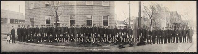 "1913 Trainmen of Topeka KS Street Railway Co. Vintage Panoramic Photograph 25"""