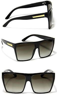 Large Retro Style Square Black Traperzoid Flat Top Sunglasses Nerd Celebrity