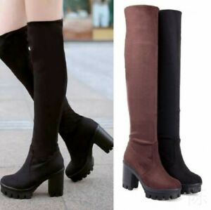 Ladies Women Block High Heel Platform Stretchy Shoes Over Knee High Thigh Boot