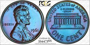 1961-1C-PCGS-PR67BN-Lincoln-66-Sapphire-Toned-TrueView-RicksCafeAmerican-com