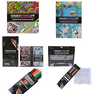 Image Is Loading New Anti Stress Colour Therapy Colouring Books Pencils