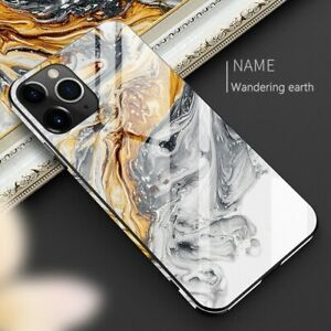 Tempered Glass Marble Phone Case For iphone 11 12 Pro Max XR XS 8 7Plus TPU Hard