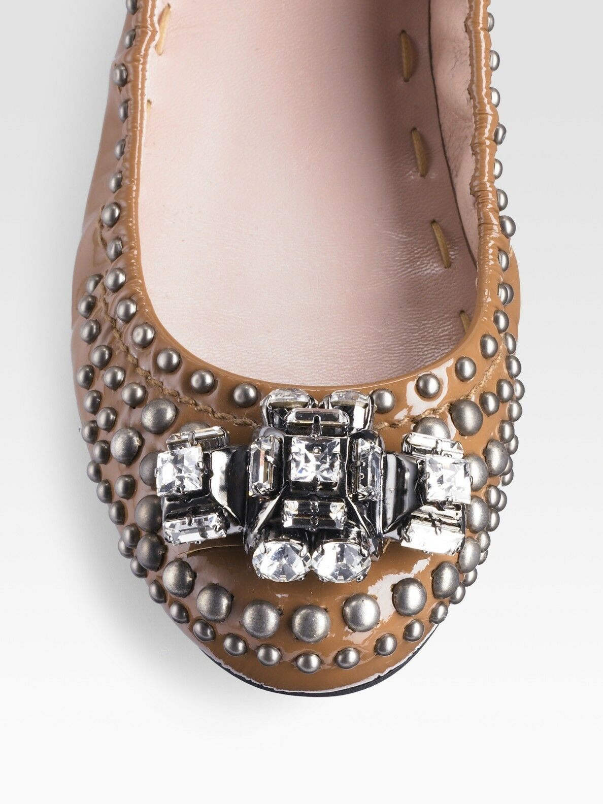 Miu Miu Leather and Strass Ballerinas Size 37 New