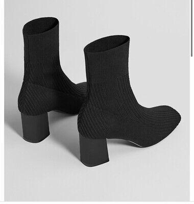 Bershka Mid Heel Sock Style Ankle Boots