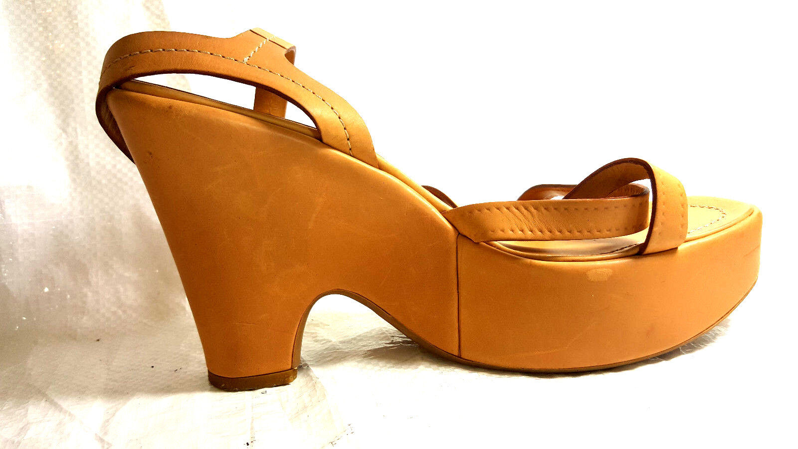 Prada Women Wedge Sandals ankle strap 10M  EU EU EU 40.5 Tan Saddle  leather shoes 2b916a