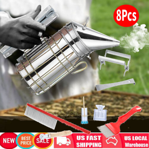 8PCS Beekeeping Tools Kit Bee Hive Smoker Smoker Chisel Frame Grip Catcher Brush