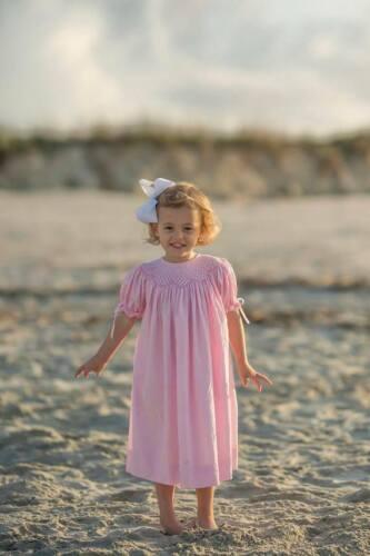baptism heirloom NB Smocked pink bishop dress with ribbon 8