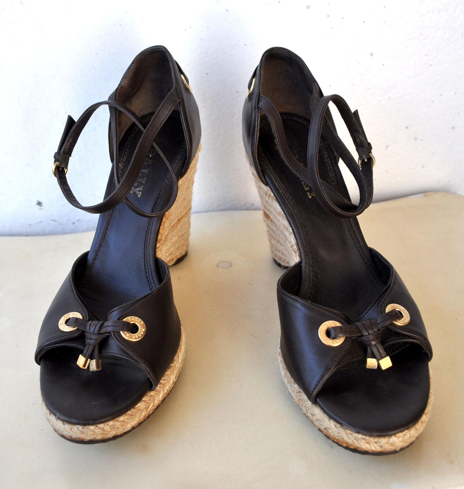 BALY Belview Marronee Leather  Cord Wedge Sandals scarpe Sz 41 Italia Autentica  Miglior prezzo