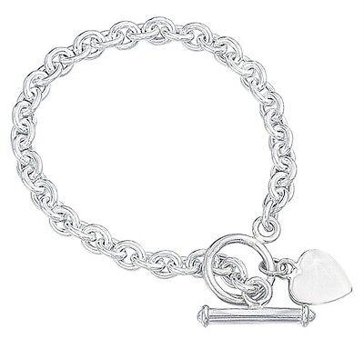 "Heart Tag T Bar Bracelet 8 "" 20cm Solid Sterling Silver Hallmarked 18.3 Grams"