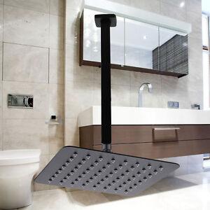 WELS-Bath-BLACK-8-034-Square-Super-Thin-Shower-Head-Hose-400mm-Ceiling-Overhead-Arm