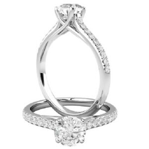 0.71 Ct Round Cut Moissanite Engagement Superb Rings 18K Solid White Gold Size 4