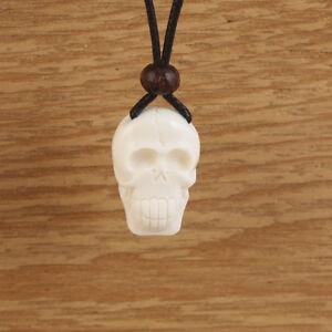 Skull necklace carved bone mens boys white pendant tribal black cord image is loading skull necklace carved bone mens boys white pendant aloadofball Gallery