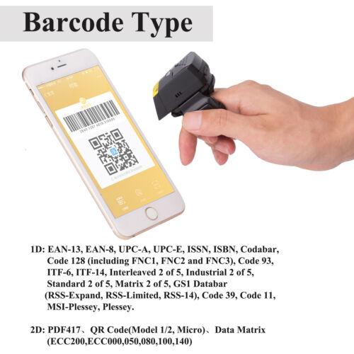 New FS02 Professional Finger 2D Barcode Scanner Mobile Bluetooth Barcode Reader