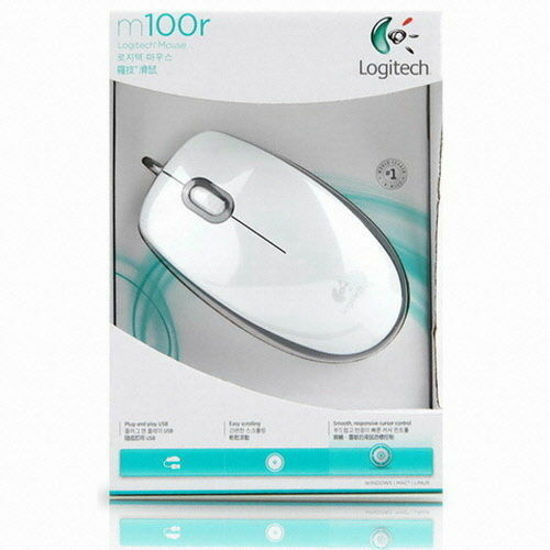 Logitech M100r Wired Optical Mouse  Mice 1000DPI, USB - White