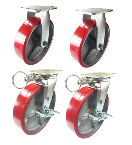 "4 Casters Set 8/"" X 2/"" Swivel Lock Polyurethane on Cast Iron Wheels No Mark Red"