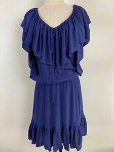 Country Road Womens Blue Rayon Ruffled Elastic Waist Sleeveless Dress Size S
