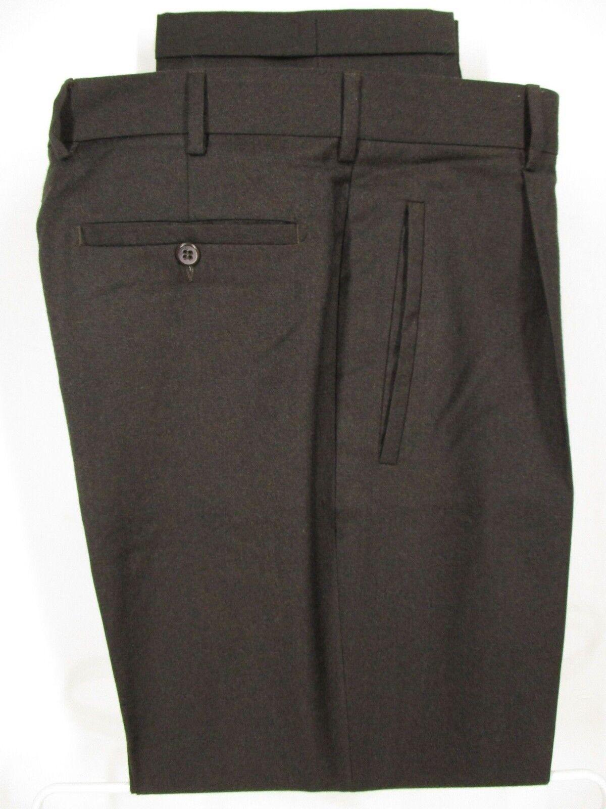 Zanella Bob Mens Charcoal Pleated Wool Dress Pants size 34 34x30