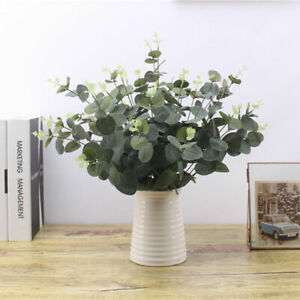 Artificial-Fake-Silk-Flower-Eucalyptus-Plant-Green-Leaves-Home-Hotel-Decorations