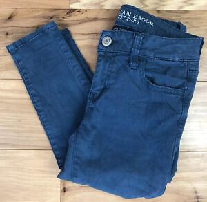 American Eagle Talla 0 Largo Jegging Azul Color Super Stretch Jeans Para Mujer Pantalones Ebay
