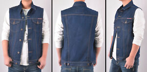 Mens Dark Denim Vest Jacket Sleeveless Washed Motojacket Bikerjacket