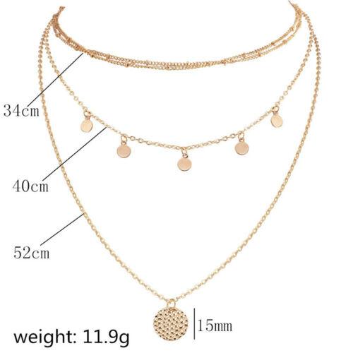 Vintage collar de oro de varias capas disco redondo del grano moneda tonificada moneda Collar Z