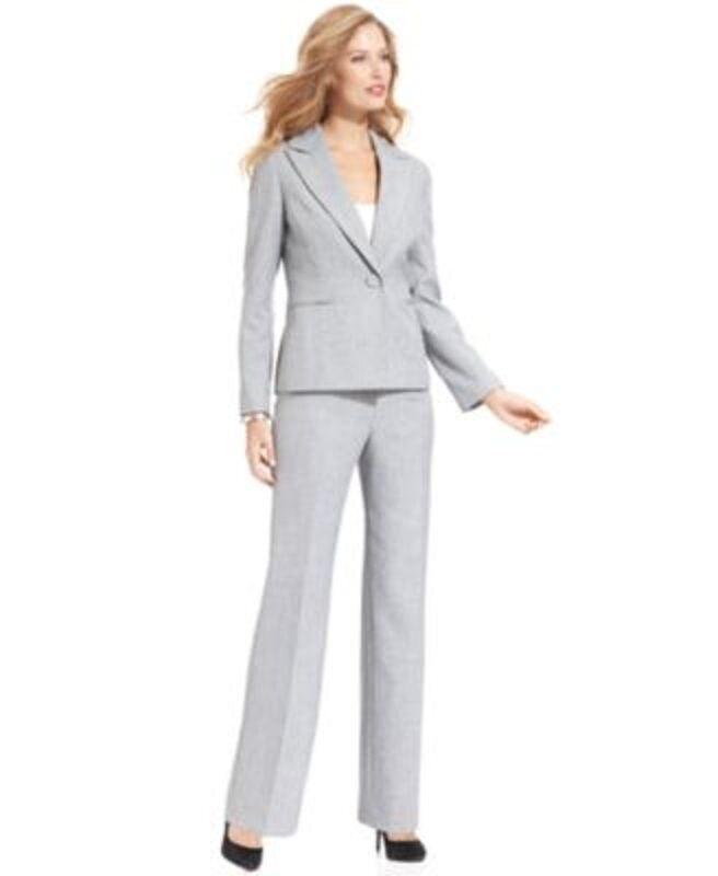 Le Suit Petite Sz 12P Navy White  Classic Luxe  Career Two Piece Pant Suit