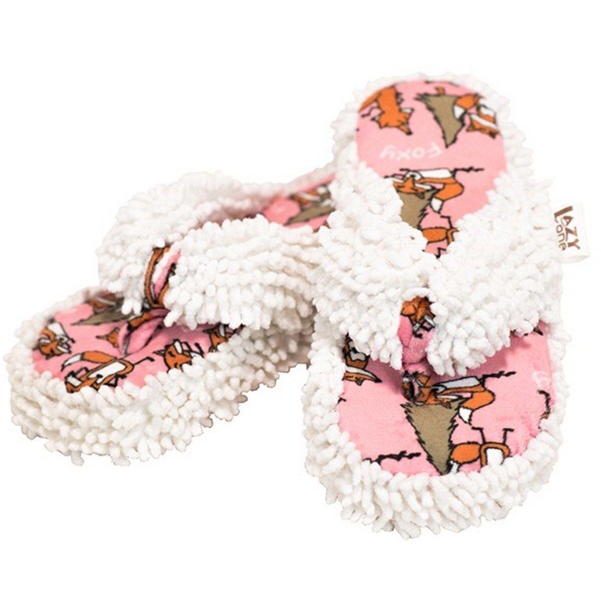 Lazy One Spa Slippers Thong Fox Foxy Pink White Orange