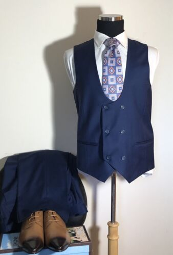 Apollo King Men/'s 100/% Worsted Wool Hand Tailored Platinum Edition DB 3 Pc Suit