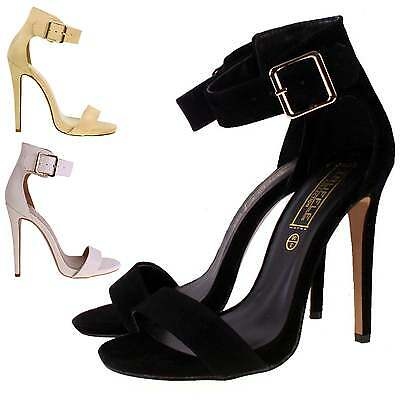 New Womens Ladies High Stiletto Heel Strappy Evening Ankle Buckle Sandal Shoes