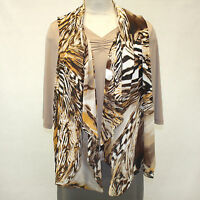 Susan Graver Plus Faux Vest Animal Print Blouse & Vest Set 1x