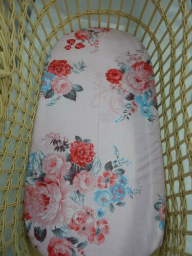 Bassinet Fitted Sheet Floral Pink Rose 100% Cotton FITS STANDARD BASSINET