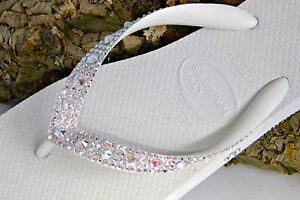 716ec5e50 Havaianas Wedding Flip Flops Full Moon w  Swarovski Crystal Bling ...