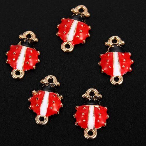 10X Enamel Ladybug Alloy Charm Connectors DIY Necklace/&Bracelet Making1.6*1cm