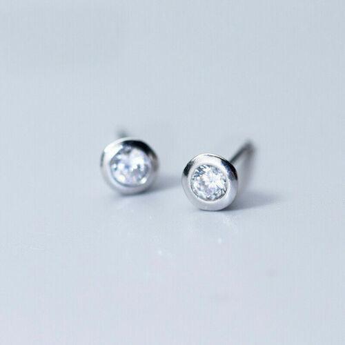 HOT Elegant 925 Sterling Silver AAA CZ Round Ear Stud Earrings Jewellery