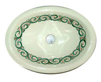 #079) SMALL 16x11.5 MEXICAN BATHROOM SINK CERAMIC DROP IN UNDERMOUNT BASIN