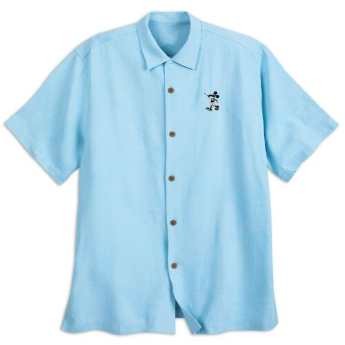NEW Disney Parks Tommy Bahama Mickey Mouse Embroidered Blue Camp Shirt Small