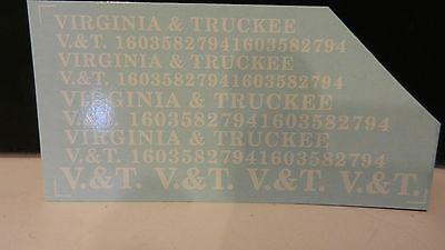 Decals Black V/&T Custom HO Virginia /& Truckee