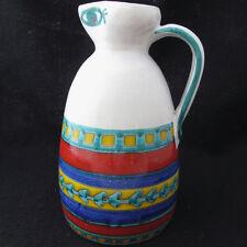 Desimone Art Pottery Pitcher Italy Mid Century Folk Art Signed Bright Colors