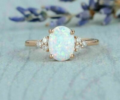 3Ct Oval Cut Fire Opal Engagement Wedding Solitaire Ring 14K Yellow Gold Finish