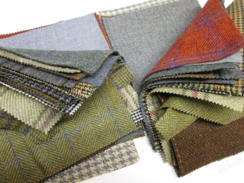 """Tweed Patchwork 100/% Wool Remnant Offcuts Squares 10 Pieces 23cm 9/"""""""