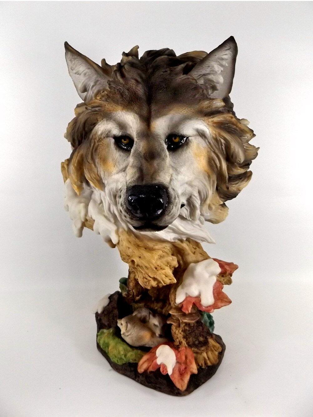 Wolf Kopf Büste Tierfigur Hund Skulptur Deko Tier Figur Statue Wildhund Baby